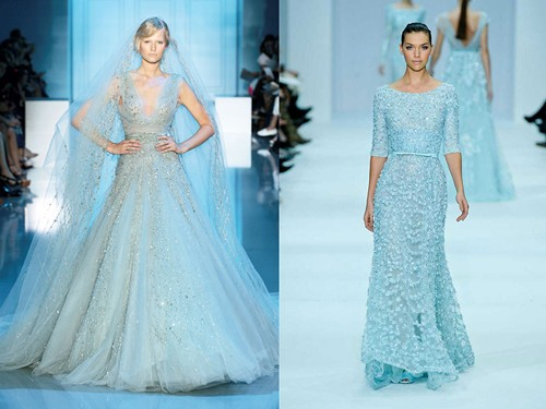 Длинное голубое платье невесты