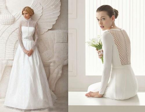 Патье невесты с длинными рукавами