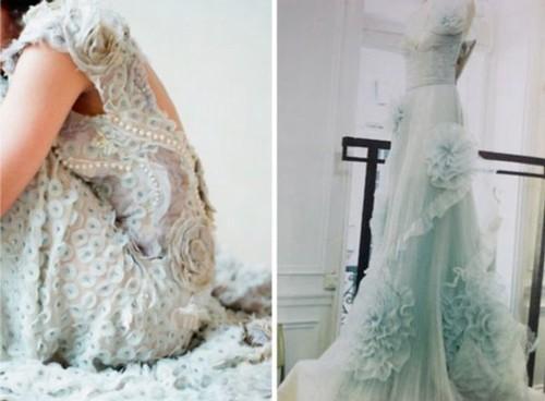 Дымчато-голубое платье невесты