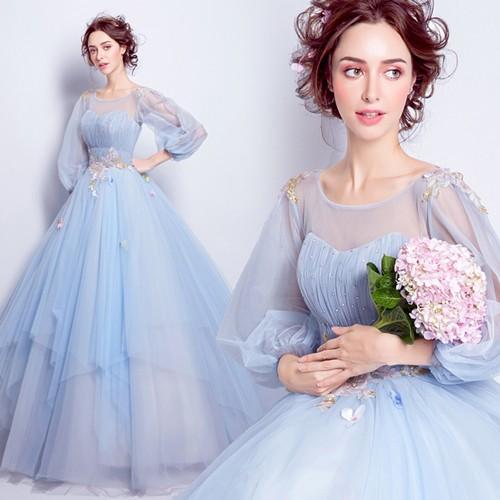 Закрытое голубое платье невесты