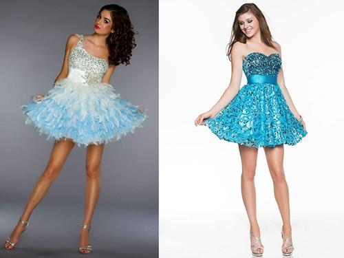Короткое голубое платье невесты