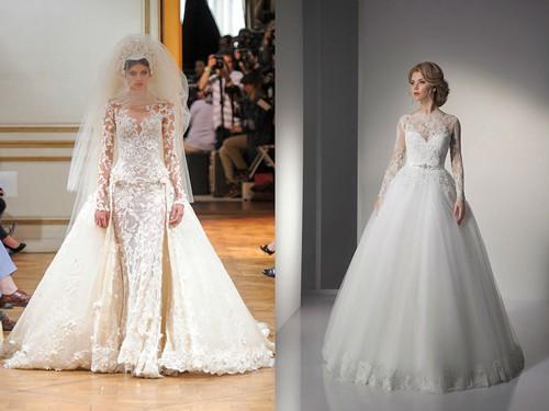 Закрытое платье невесты с кружевом
