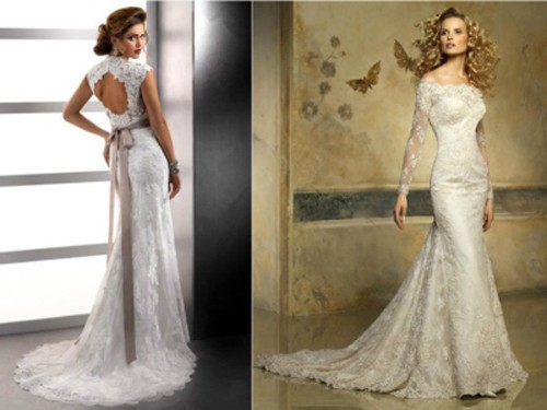 Кружевное свадебное платье со шлейфом