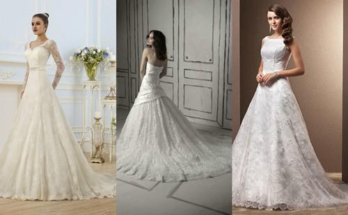 Свадебные платья А-силуэта с кружевом