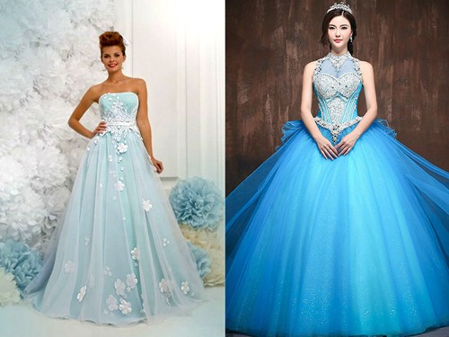 Открытое голубое платье невесты