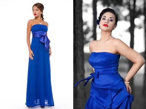Полностью синее свадебное платье