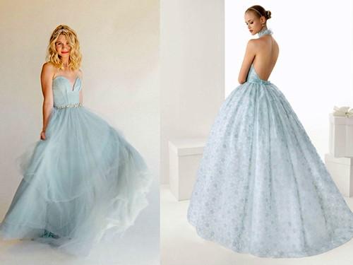 Пышное голубое платье невесты