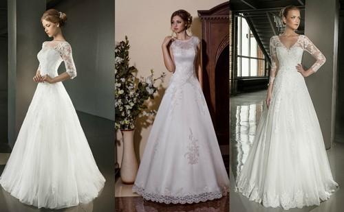 Свадебные платья А-силуэта с рукавами