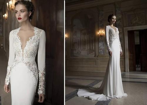 Зимнее платье невесты в форме русалки