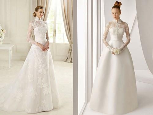 Платье невесты с закрытой шеей