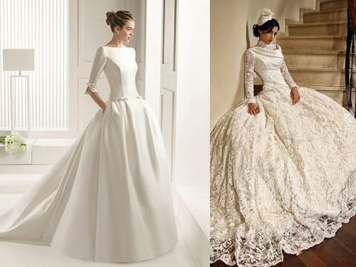 атье невесты с длинными рукавами
