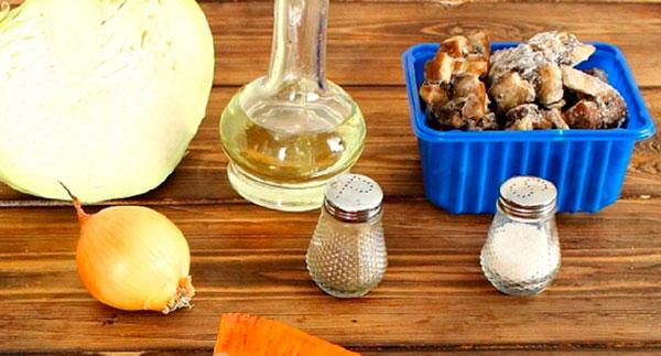 Ингредиенты для пирога с капустой и грибами
