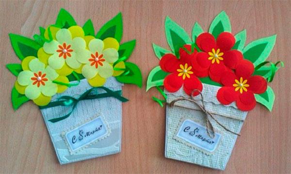 Горшочки с цветами из ткани